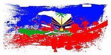HAITI Flag Custom License Plate Haitian Creole Emblem PAINT Version