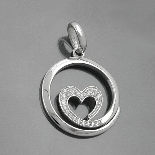 Redonda señora diseño remolque con circonita corazón y cadena real plata 925 nuevo