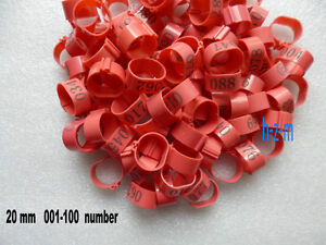 001-100 Numbered Pink Chicken Leg Bands 20mm Chicken Rings