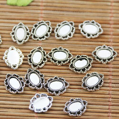 74pcs tibetan silver tone oval little cameo cabochon settings EF1713