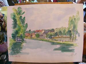 Art Steady Watercolour Sarreguemines Sarre A Simon 1926-2014 1995 Artist Lorraine