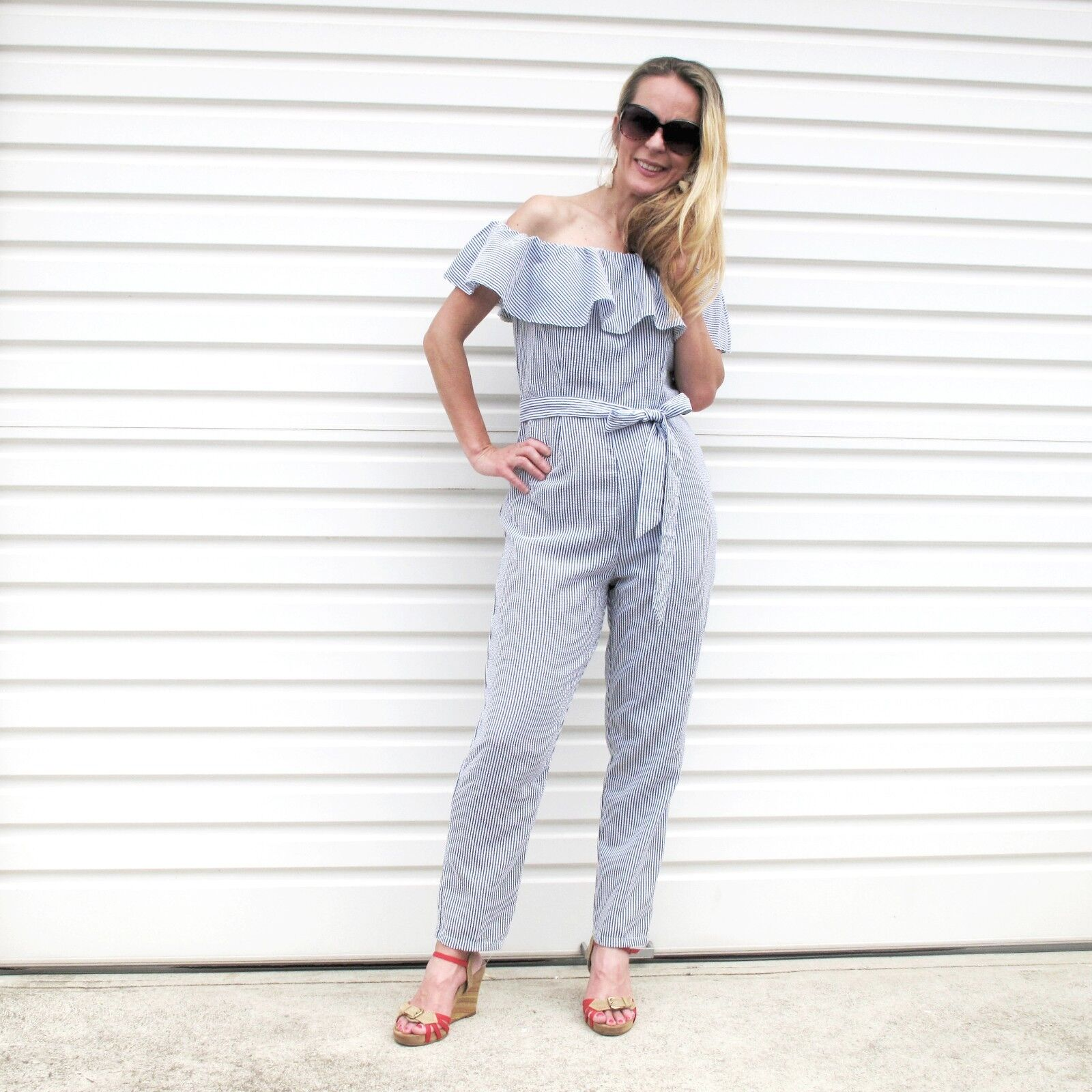 NEW LADIES  OFF THE SHOULDER FRILL PINSTRIPE WITH BELT  JUMPSUIT SIZE 8-14
