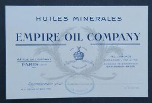 Carte De Visite HUILE EMPIRE OIL COMPANY Bidon Can PARIS Automobilia Visit Card