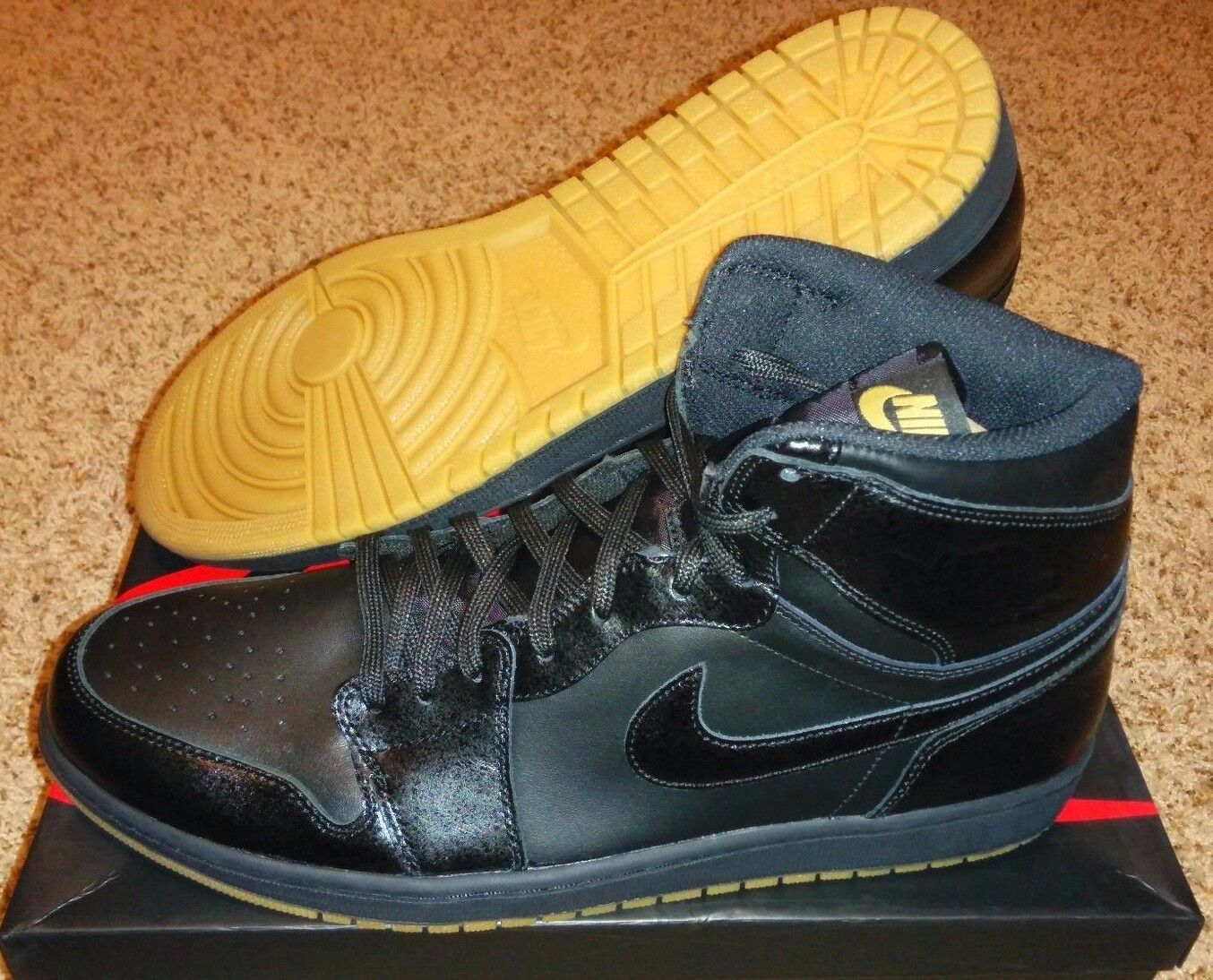 Nike air jordan 1 og nero / gomma basso alto frammento melo pinnacle ovo sz 15
