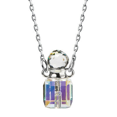satisfied 925 Sterling Silver Necklace Square Colorful Crystal