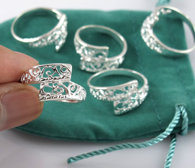 925 Silver Hollow Carving Flower Rings Mix 7-9# Wholesale Women Jewelry 5pcs/lot