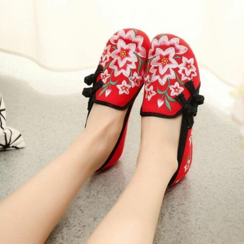 2018 New Women Folk Chinese Embroidered Flower Flats Ankle Strap Shoes Summer