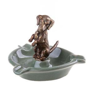 9931072 IN Ottone Ceramica Ciotola Posacenere Verde Bassotto Liberty 10x13x13cm