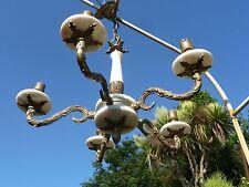Vintage 5 Arm Chandelier Light Pendant In Brass and Alabaster