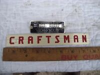 "Name and Model Plates from 12"" Sears Roebuck Craftsman Band Saw Model 103.24260"