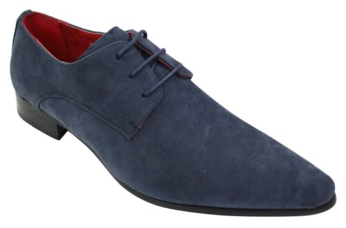 Mens Laced Pointed Suede Leather Blue Italian Design Shoes Smart Casual