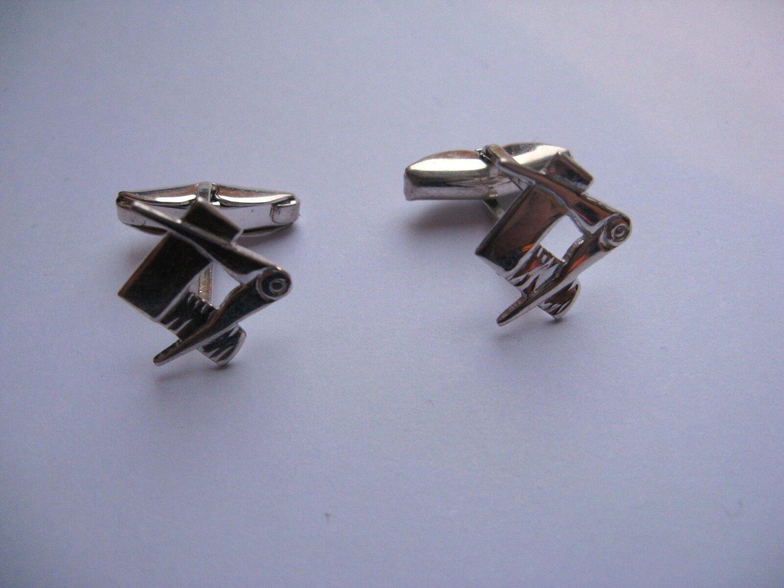 argentoo Sterling Fermaglio Fermaglio Fermaglio Retro Massonico da Uomo Gemelli 60f7fc