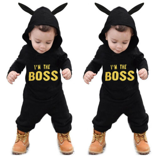 Newborn Infant Baby Boys Kids Hooded Romper Bodysuit Jumpsuit Clothes Outfit Set