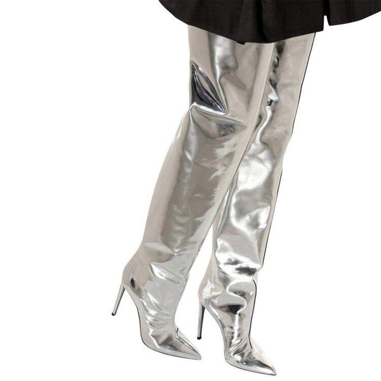 Femmes Talon Haut Cuir Verni Au-dessus du genou cuissardes taille plus Clubwear