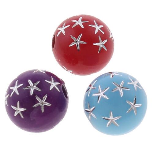 100 Acrylique Perles 8 mm mélangé avec étoile Bijoux Fabrication Plastique Perles r196