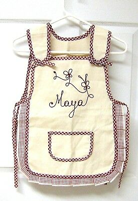 RED Top Quality Gingham Check Home//Work Tabard Apron with Large Front Pocket