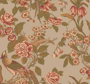 Wallpaper-Designer-Traditional-Floral-Pheasants-Birds-Green-Rose-Tan-on-Taupe