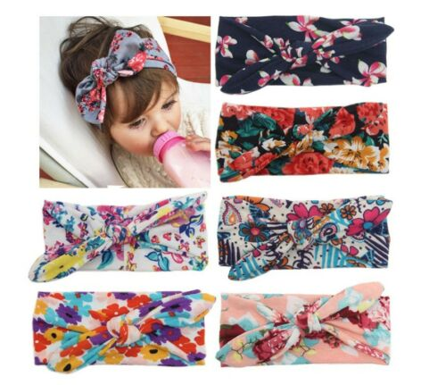 Baby Knotted Knot Bow Bunny Ear Floral Pattern Headband Infant Newborn Girl