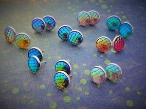 Mermaid Scales Earrings Dragon Silver Stud Rainbow Game Thrones Irridescent Fae
