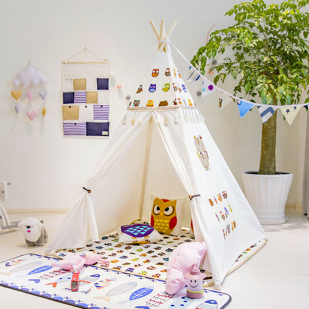 New Teepee Kids Play Tent Large Large Large 100% Cotton Wigwam Outdoor Toy Birthday Gifts UK ae92cd