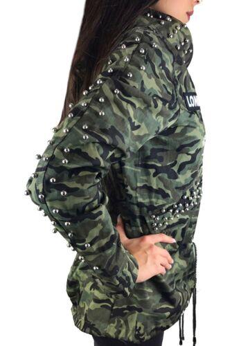 Da Donna Mimetico Giacca Parka Militare di Transizione Giacca Cappuccio Cappotto Borchie Army