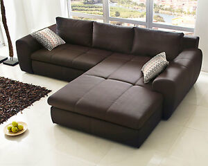 wohnlandschaft cascada sofa mit ottomane in braun bettfunktion und bettkasten ebay. Black Bedroom Furniture Sets. Home Design Ideas