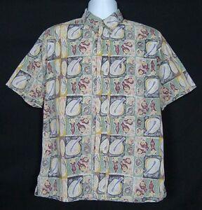 Kahala-Hawaiian-Shirt-Mens-M-Short-Sleeve-Cotton-Button-Front-Floral-Multi-Color