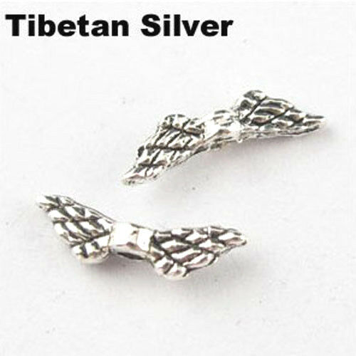 50Pc Tibet Silver Two-sided Wings Charms Spacer Beads 12mm Jewelry Diy