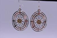 Handcrafted Diamond Cut Disc Flower Earrings 14k Gold Clad Silver Free Pendant