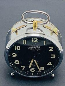 VINTAGE-WEHRLE-ALARM-CLOCK-3-IN-1-CLOCK-REPEATER-amp-STRIKING-GERMANY-WORKING