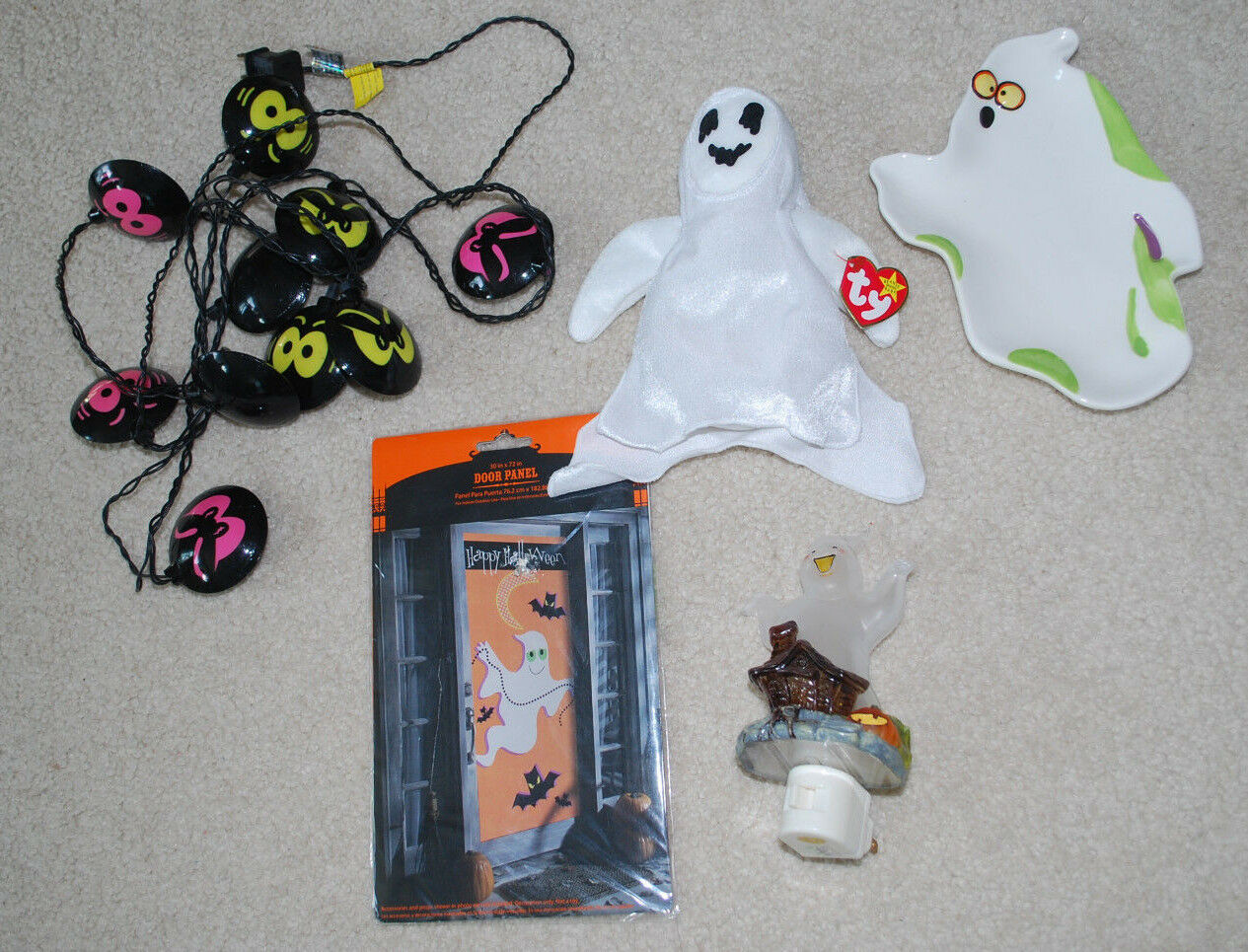 Halloween Ghosts Home Decor TY Sheets Beanie Night Light Dish Lights Door Panel