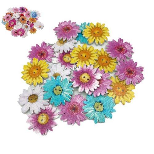 Daisy Buttons  50pcs  2 Holes  Flower  DIY  Craft  Assorted  Wooden  25mm