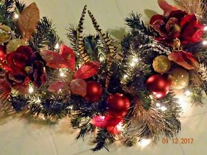 Details About Ruby Red Magnolia Christmas Garland Mantel Doorways Lights Feathers 9 5 X 15