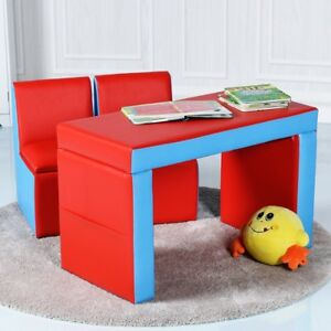 Kids Baby Multi Functional Reading Table Chair Set Dinner Desk Seats