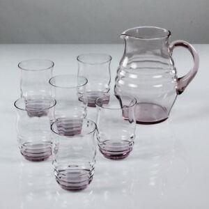 Saft-Krug-Set-Glas-Rose-alte-Limonaden-Glaeser-Lausitz-30er-40er-Jahre-Art-Deco