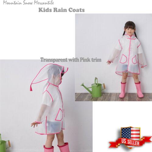 Popular Kids Toddler Clear Raincoat Rain Jacket Rainwear Transparent Pink size L
