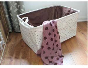 extra large collapsible canvas hamper laundry bin basket storage box brown dot ebay. Black Bedroom Furniture Sets. Home Design Ideas