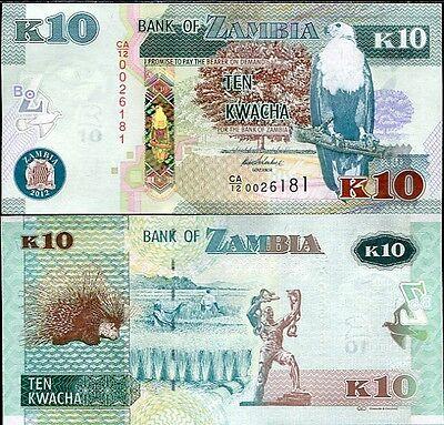 ZAMBIA 10 KWACHA 2012//2013 P 51 UNC