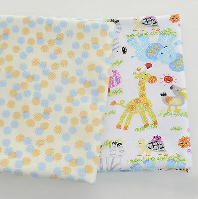 One PCS Cotton Fabric Pre-Cut Cotton cloth Fabric for Sewing Pastel animals