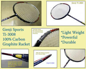 Genji Nano Power Titanium F-10 Tournament Grade Badminton Racket Sporting Goods Badminton