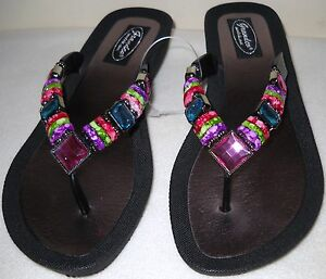 abfdbf556db6a Image is loading GRANDCO-SANDALS-Beach-Pool-THONG-BLING-Black-Frosted-