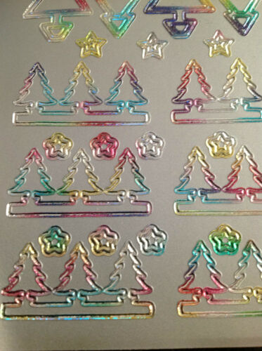 5 Sheets Of Peel Off CHRISTMAS TREE AND GLOWING CANDLE Outline Stickers.
