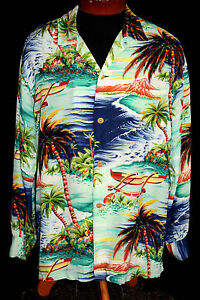 RARE-COLLECTOR-039-S-1950-039-S-034-HALE-OF-HAWAII-034-LONG-SLEEVE-HAWAIIAN-SHIRT-SIZE-LARGE