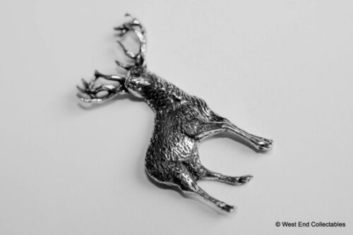 Red Deer Stag Pewter Pin Brooch British Hand Crafted Antler Hunting Stalking