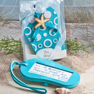 60cdda3f2b397 24 Aqua Blue Flip Flop Luggage Tags Beach Theme Bridal Shower ...