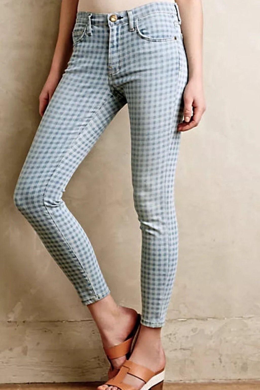 Nwt Aktuelle Elliott Sz25 The Highwaist Stiletto Stretch-Jeans Entladung Gingham