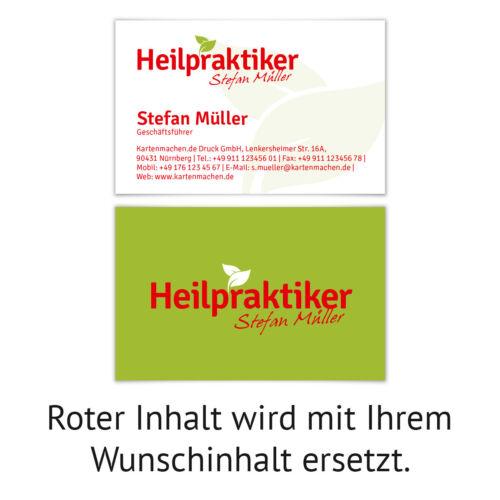 Visitenkarten individuell Business Karten 300g//qm 85 x 55 mm Heilpraktiker