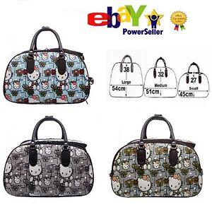 fe994a9fc NEW Ladies Girls Hello Kitty Print Hand Luggage Trolley Bag Travel ...