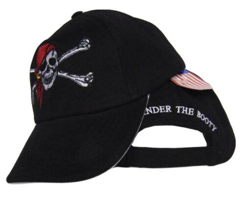 Jolly Roger Pirate Skull Cross Bones Red Hat Surrender the Booty Black hat cap