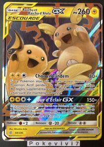 Carte-Pokemon-RAICHU-ET-RAICHU-D-039-Alola-54-236-GX-Escouade-SL11-FR-NEUF